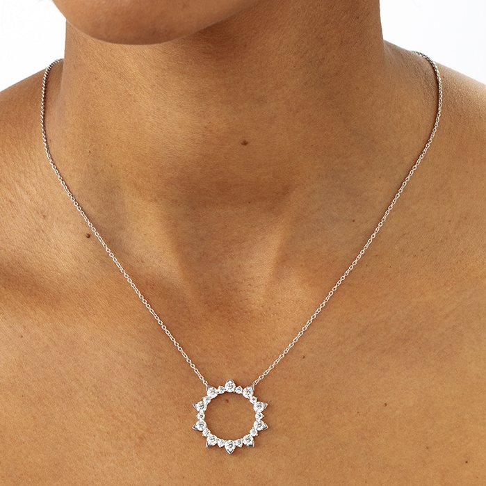 Necklace - Aerial Eclipse Large Pendant 1.75 ctw. Hearts On Fire Diamonds in 18K White Gold 2