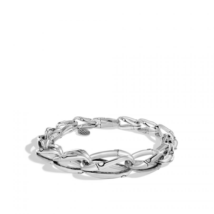 Bamboo 17MM Graduated Link Bracelet in Silver 2