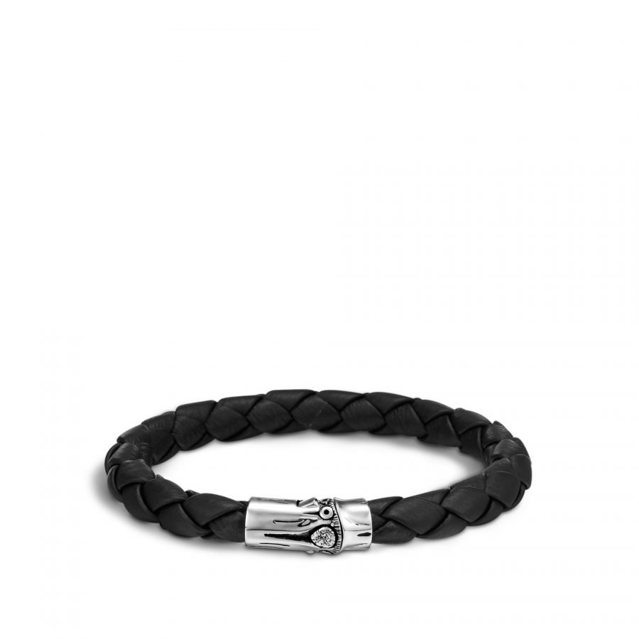 Bamboo 8MM Station Bracelet in Silver and Leather 2