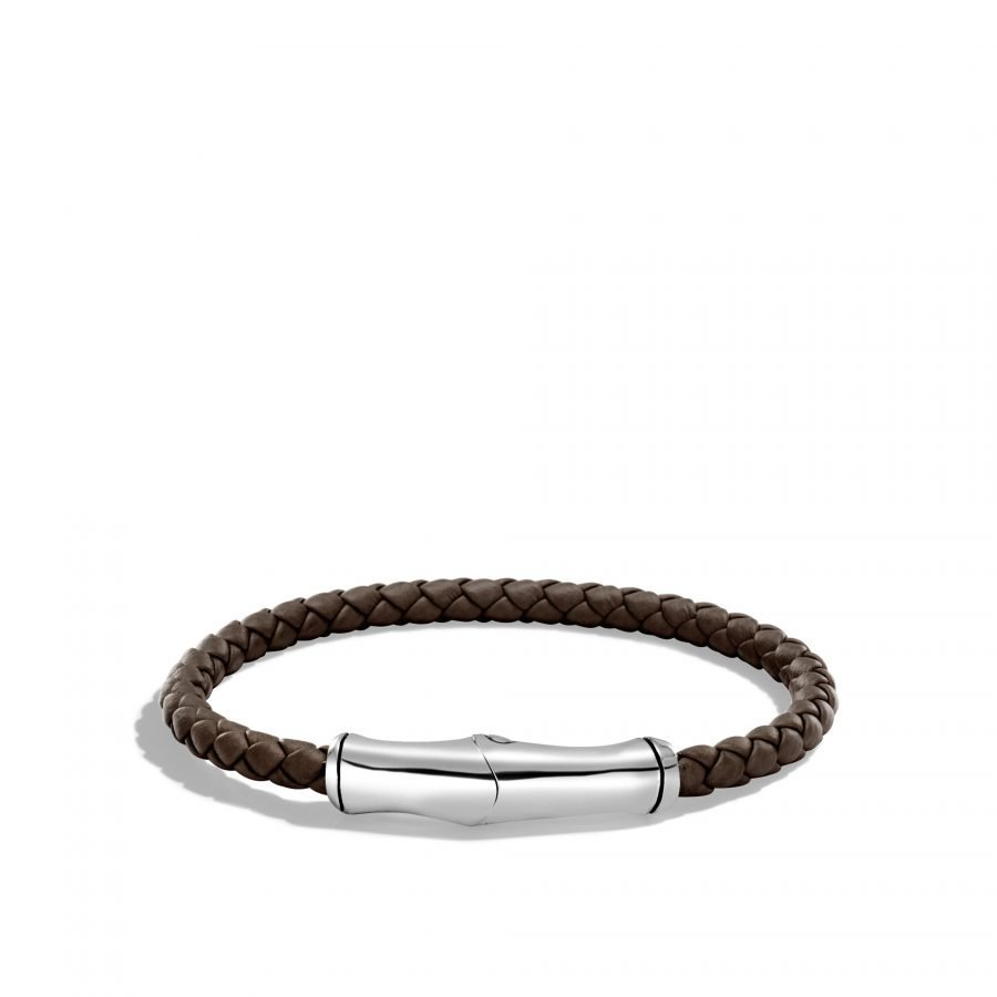 Bamboo 5MM Station Bracelet in Silver and Leather 2