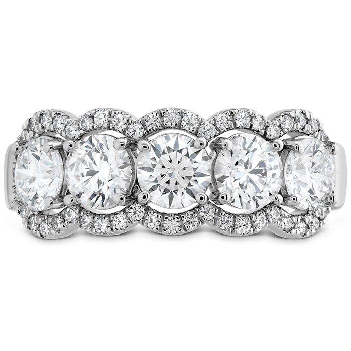 Ring - Aurora Five Diamond Band 1.55 ctw. Hearts On Fire Diamonds in 18K White Gold 2