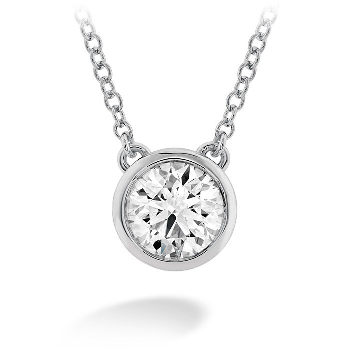 Necklace - Classic Bezel Solitaire 0.33 ctw. Hearts On Fire Diamond in 18K White Gold 2