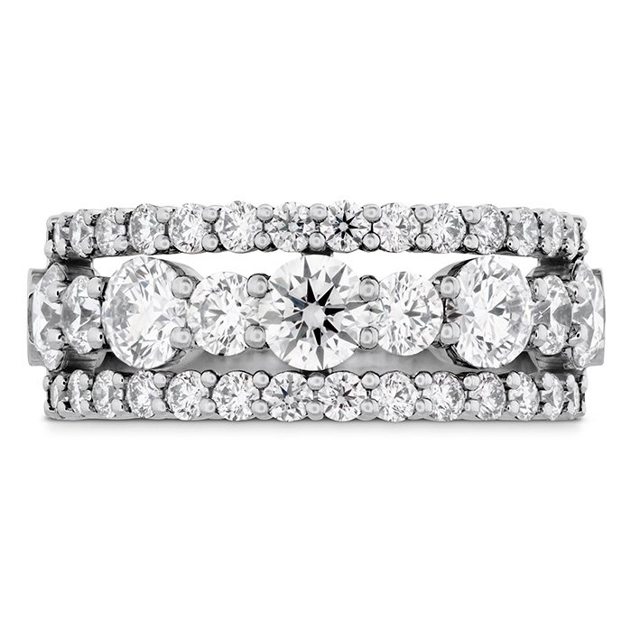 Ring - Enticing Three Row 2.25 ctw. Hearts On Fire Diamonds in 18K White Gold 2