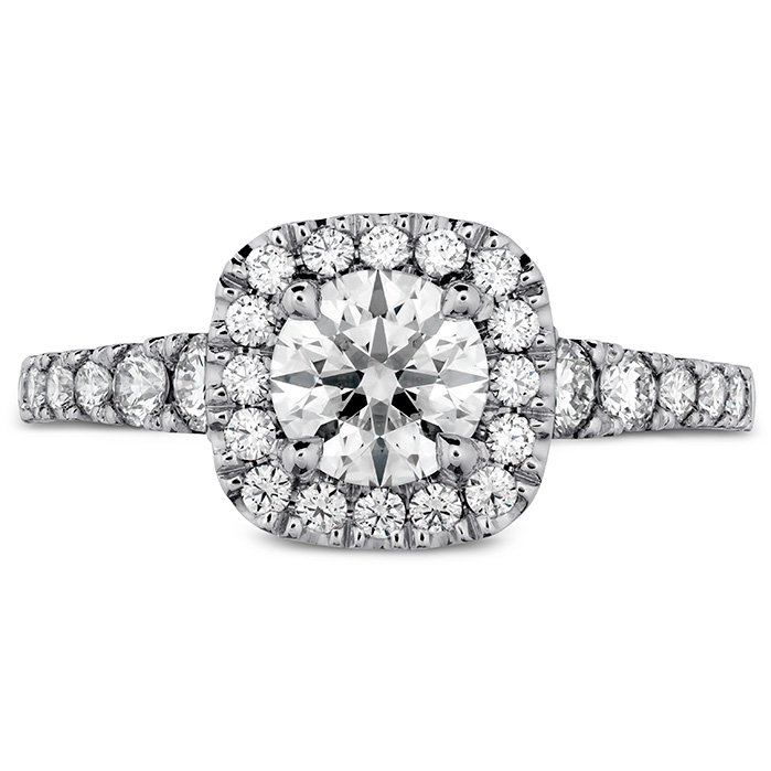 Ring - Transcend Premier Custom Halo Engagement Ring 0.50 ctw. Hearts On Fire Diamonds in 18K White Gold 2