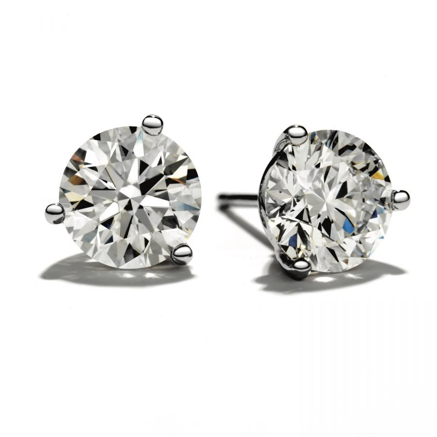 Earrings - Three Prong Studs 0.50 ctw Hearts On Fire Diamond in 18K White Gold 2