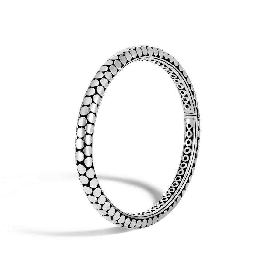 Dot 5MM Hinged Bangle in Silver 2