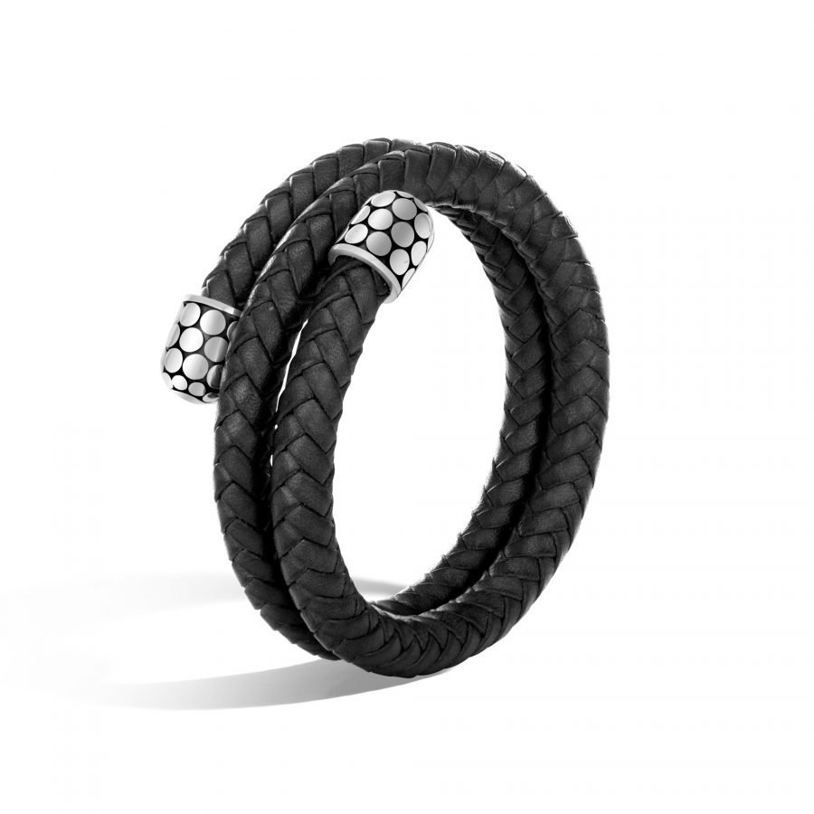 Dot Double Coil Bracelet in Silver and Leather 2