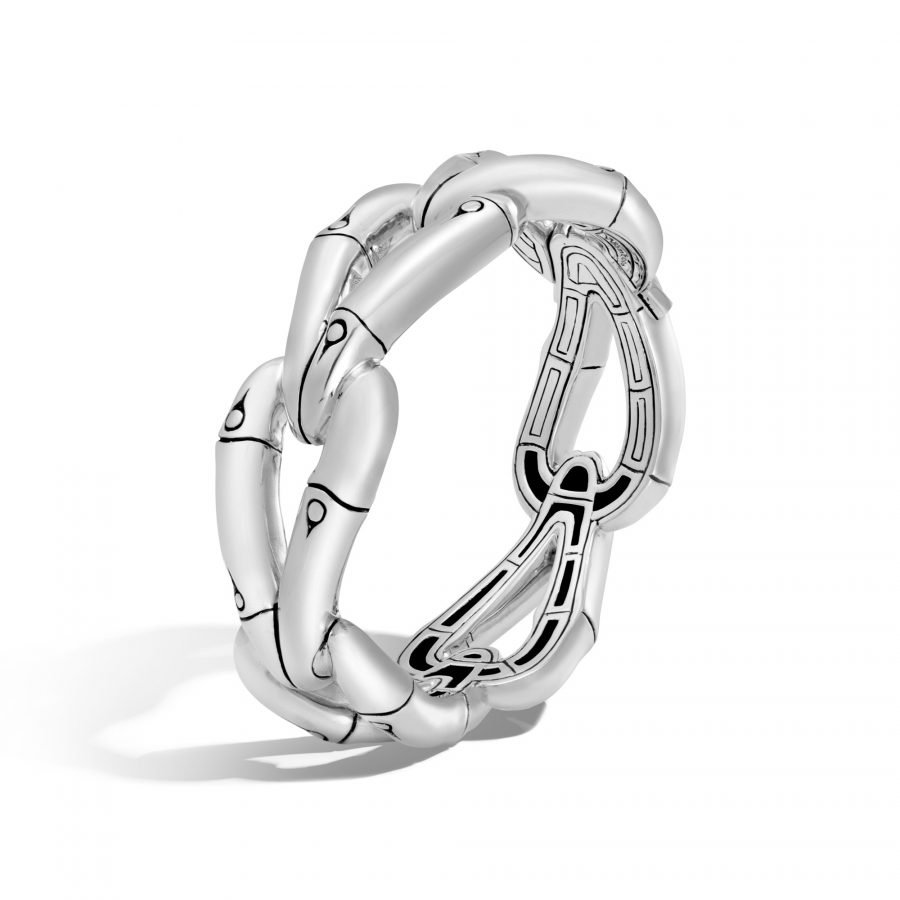 Bamboo 21.5MM Hinged Bangle in Silver 2