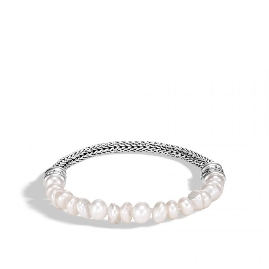 Classic Chain Bead Bracelet in Silver with White Fresh Water Pearl 2
