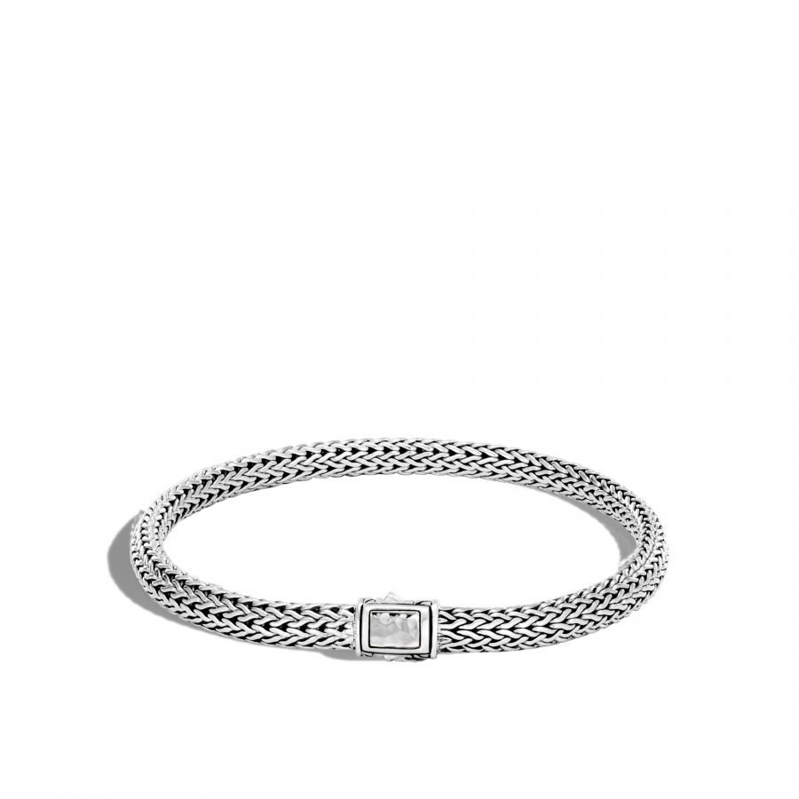 Classic Chain 5MM Hammered Clasp Bracelet in Silver - Medium 2