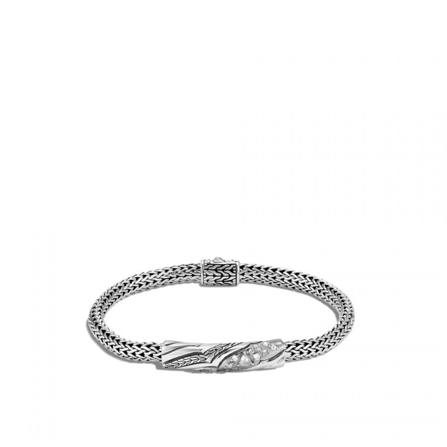 Lahar 5MM Station Bracelet in Silver with White Diamonds 2
