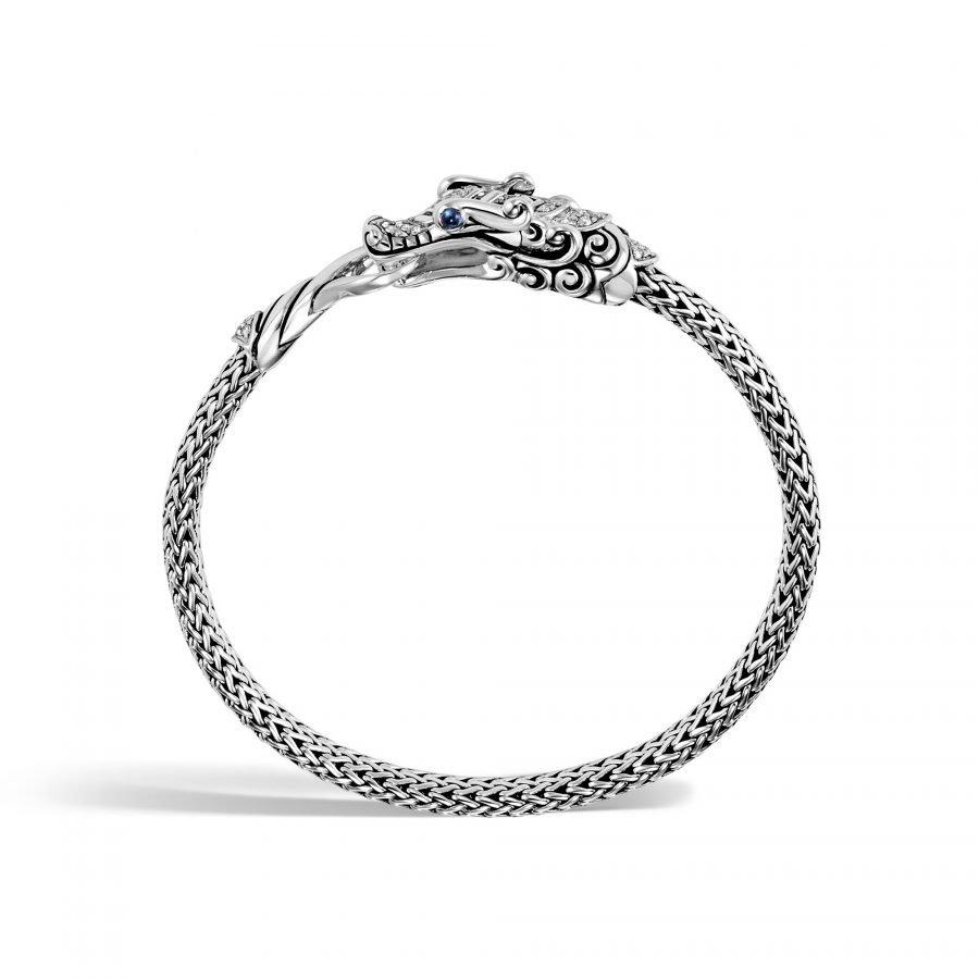 Legends Naga 5MM Station Bracelet in Silver with White Diamonds 2