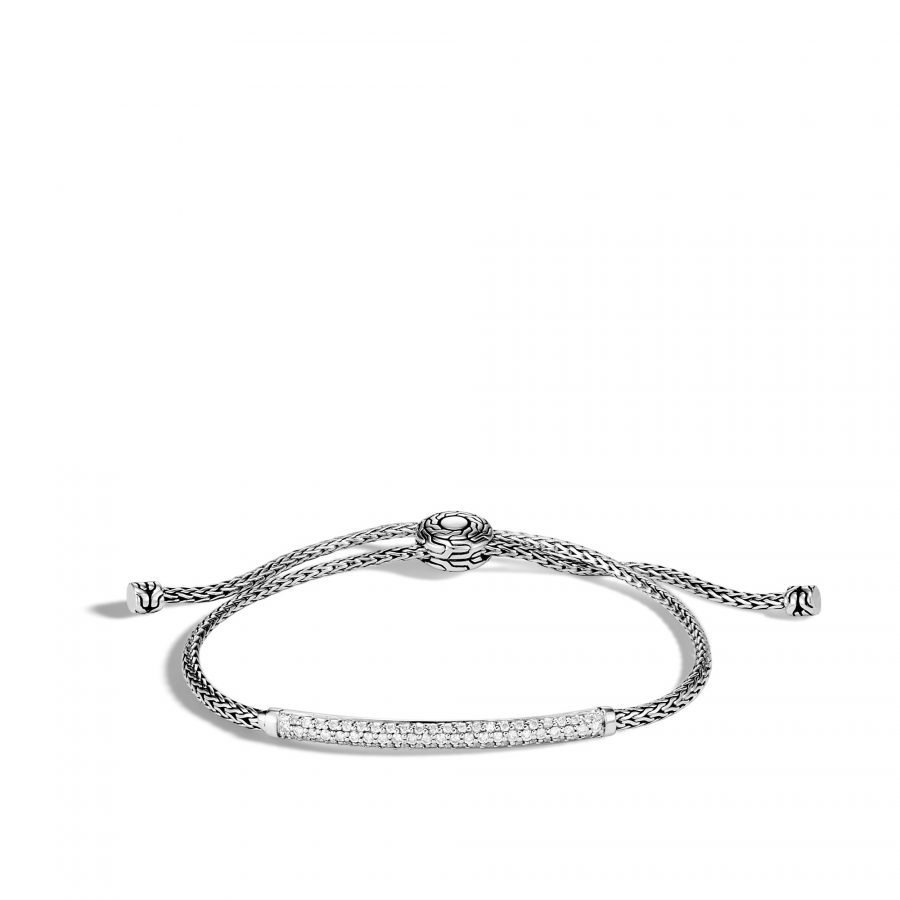 Classic Chain Station Pull Through Bracelet in Silver with White Diamonds 2