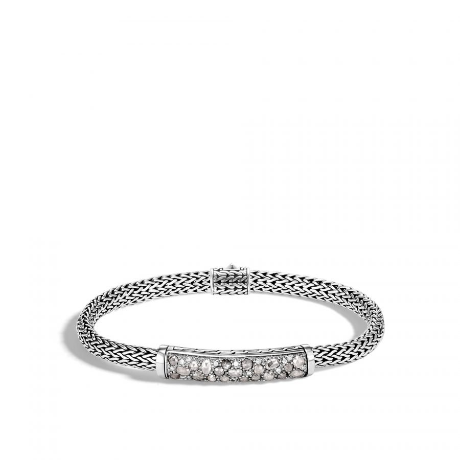 Classic Chain 5MM Station Bracelet in Silver with White Diamonds 2