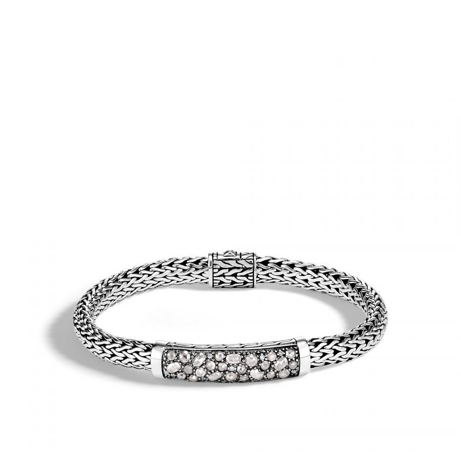 Classic Chain 6.5MM Station Bracelet in Silver with White Diamond - Medium 2