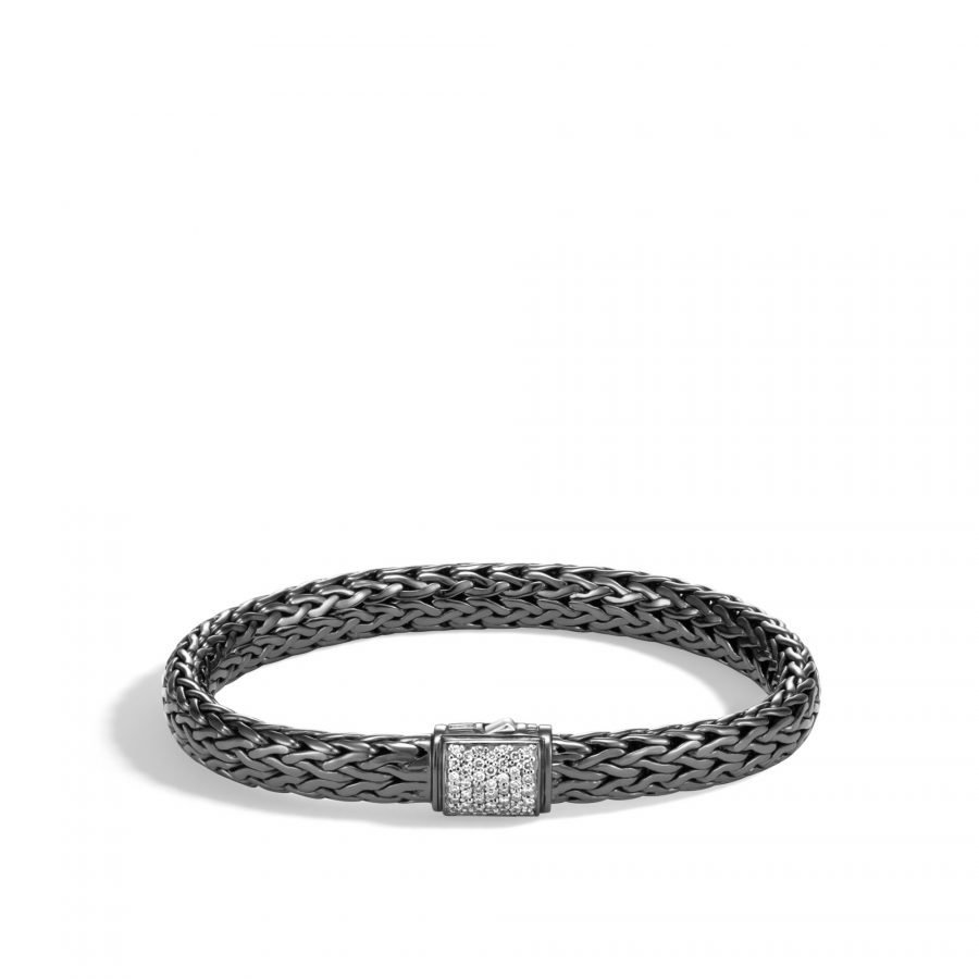 Classic Chain 7.5MM Bracelet in Blackened Silver with White Diamonds 2