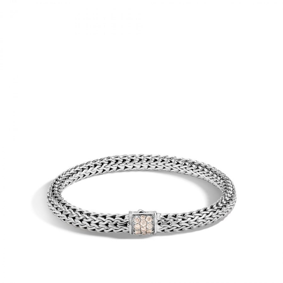 Classic Chain 6.5MM Bracelet in Silver with Champagne Diamond - Medium 2
