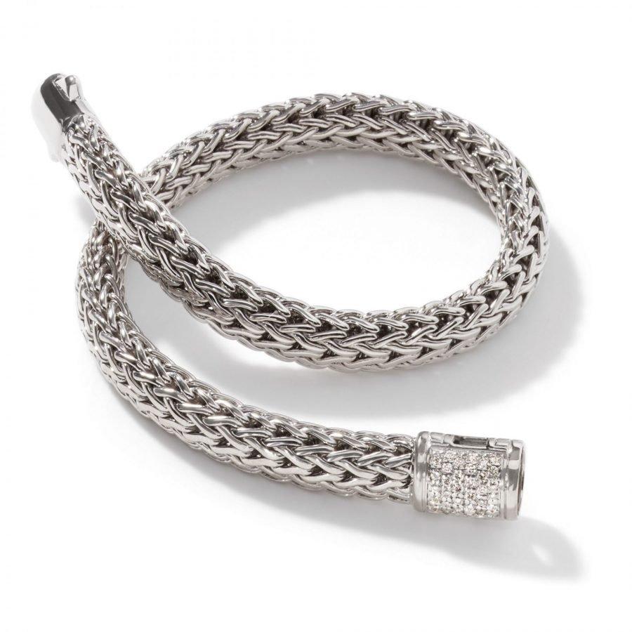 Classic Chain 6.5MM Bracelet in Silver with White Diamonds - Medium 2
