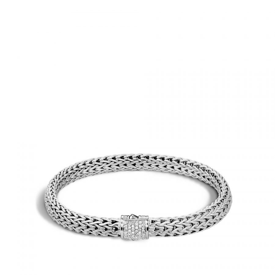 Classic Chain 6.5MM Bracelet in Silver with White Diamonds - Large 2