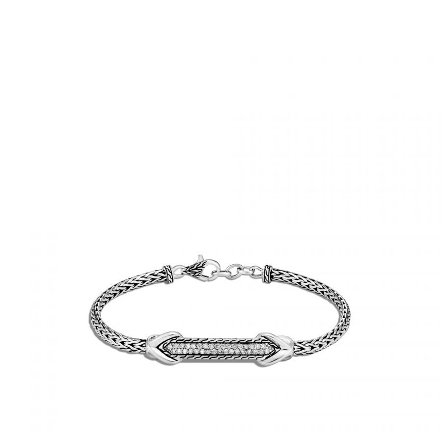 Asli Classic Chain Link ID Bracelet in Silver with White Diamonds 2