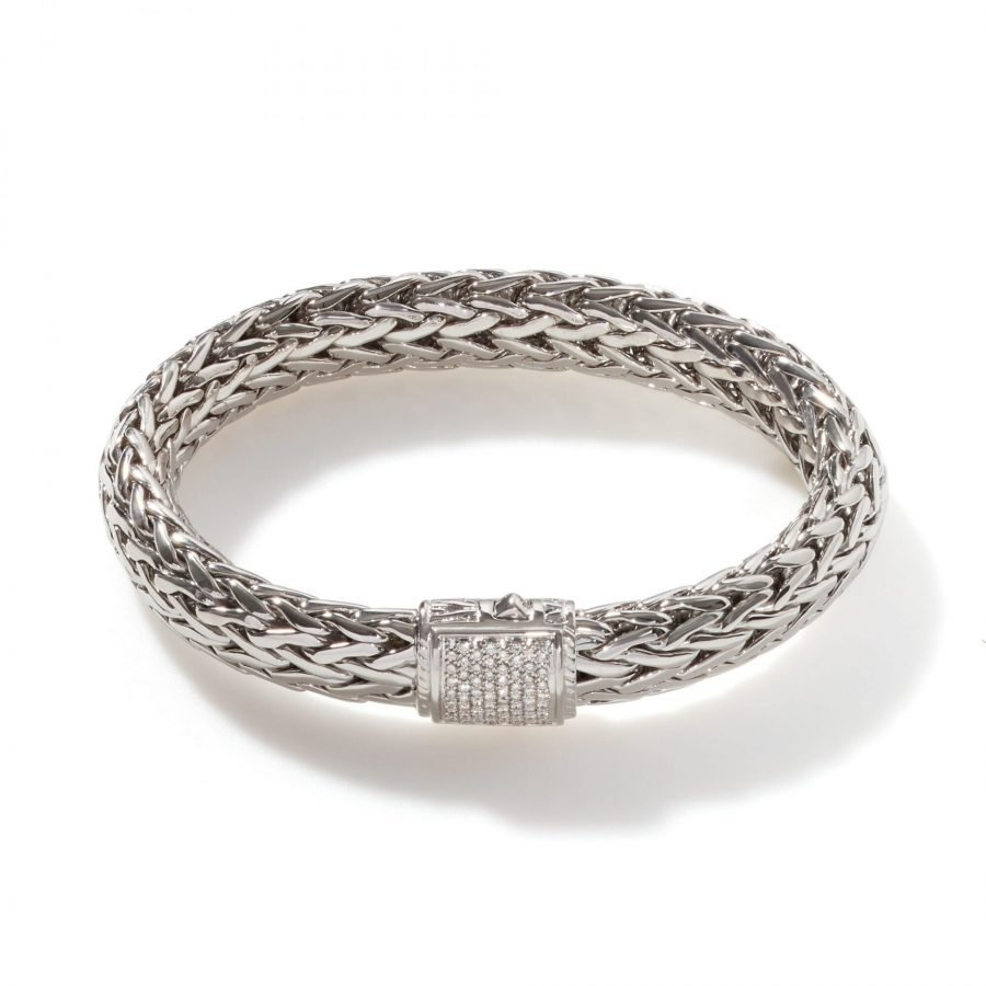 Classic Chain 10.5MM Bracelet in Silver with White Diamonds - Large 2