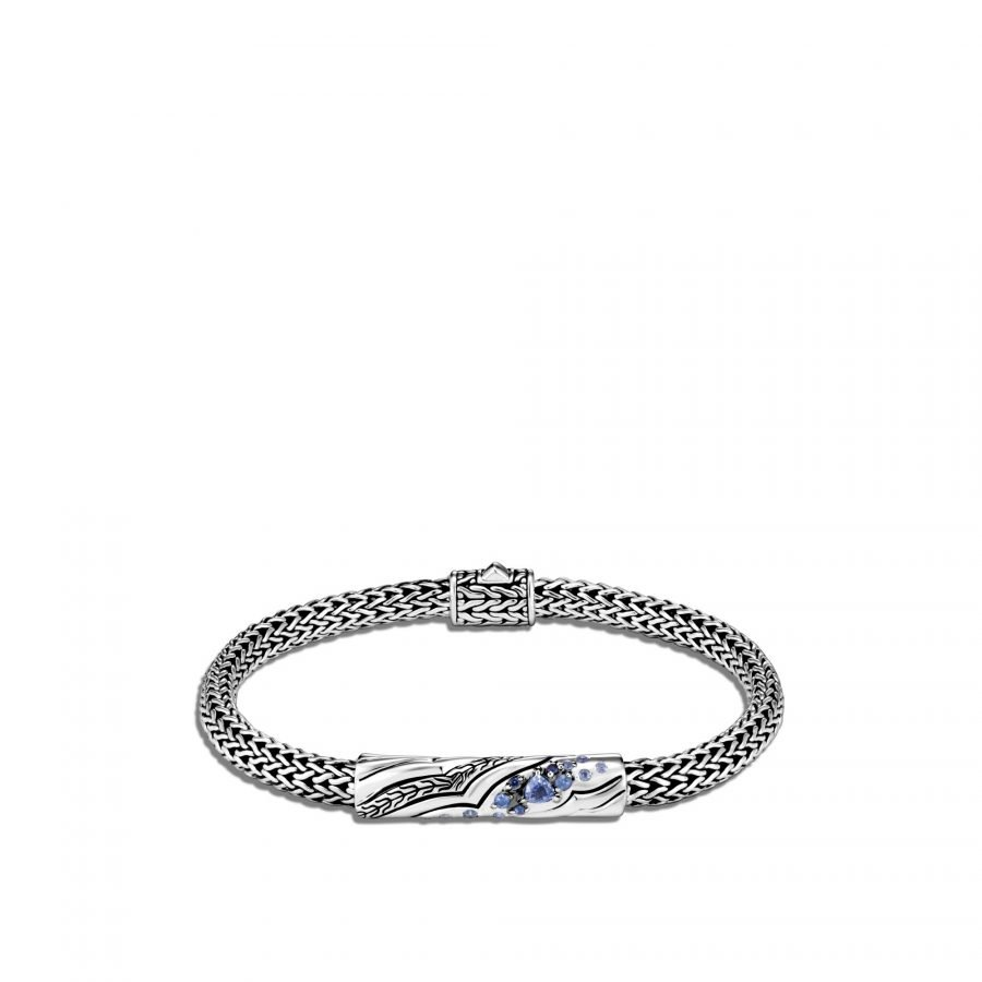 Lahar 5MM Station Bracelet in Silver with Blue Sapphire 2