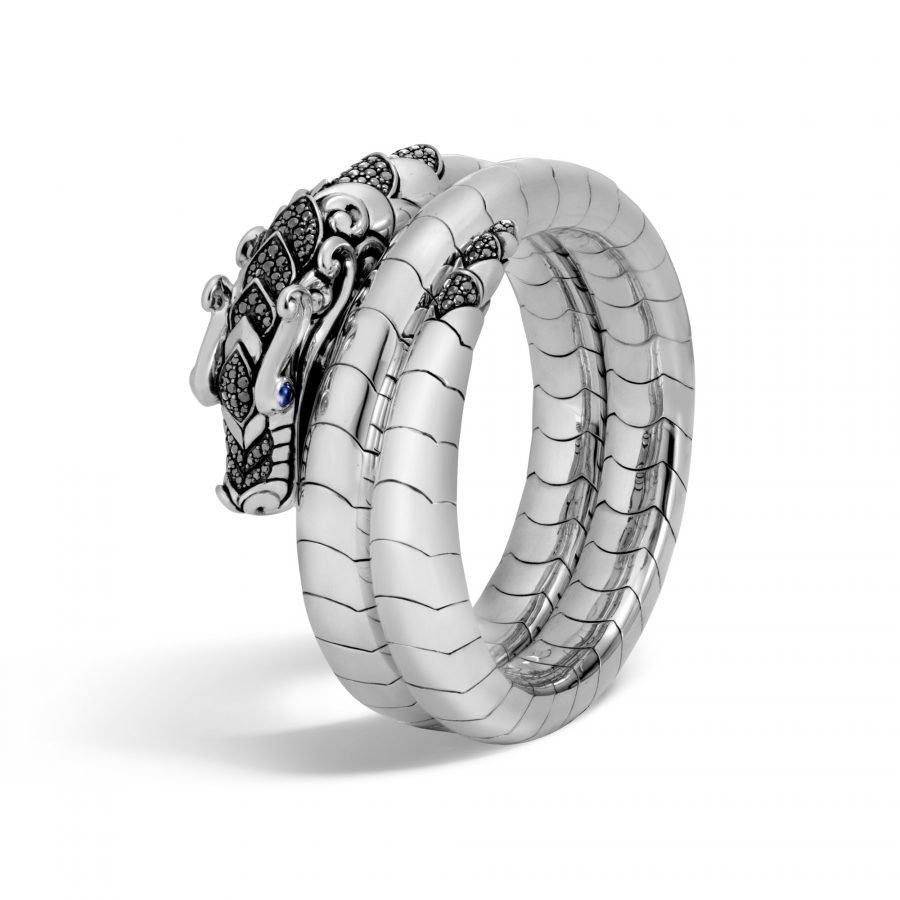 Legends Naga Double Coil Bracelet in Silver with Black Spinel 2