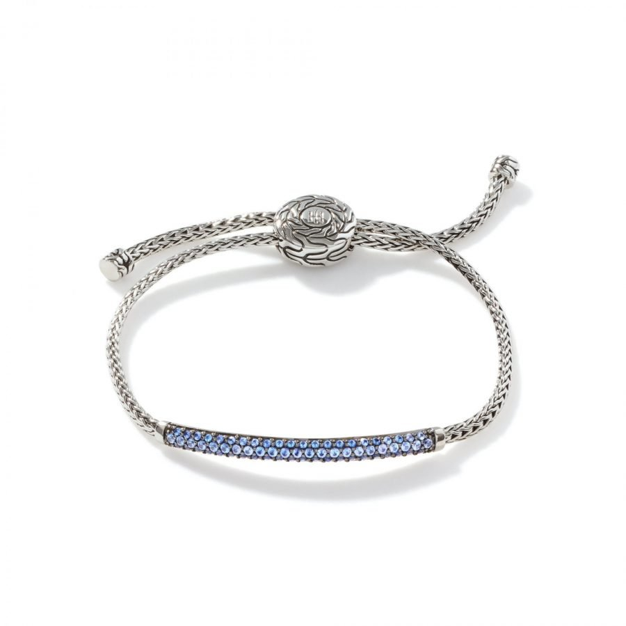Classic Chain Station Pull Through Bracelet in Silver with Blue Sapphire 2