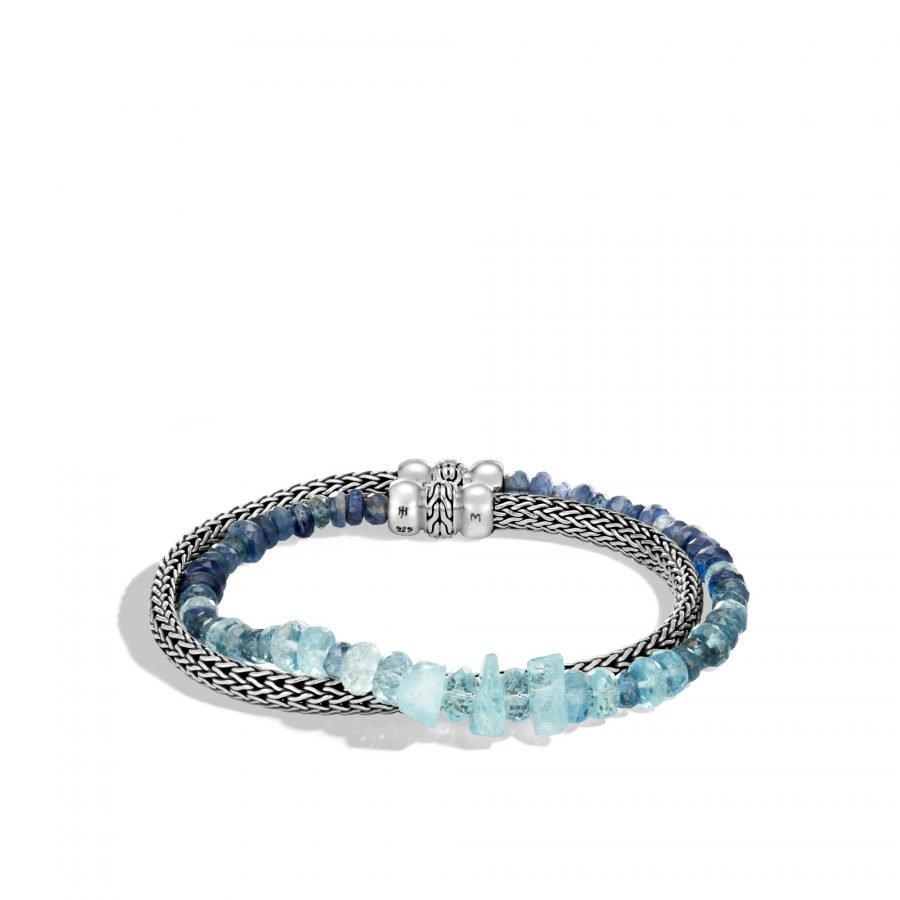 Classic Chain 5MM Double Wrap Bracelet in Silver with Aquamarine 2