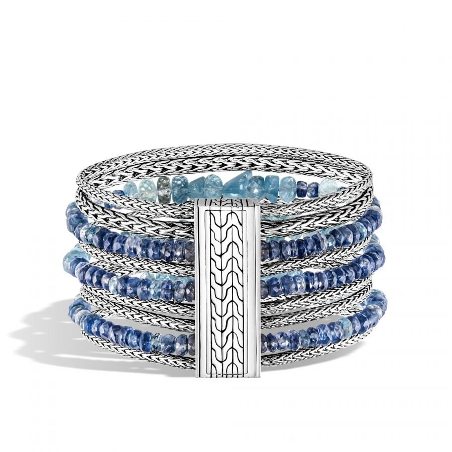 Classic Chain 37MM Multi Row Bracelet in Silver with Aquamarine 2