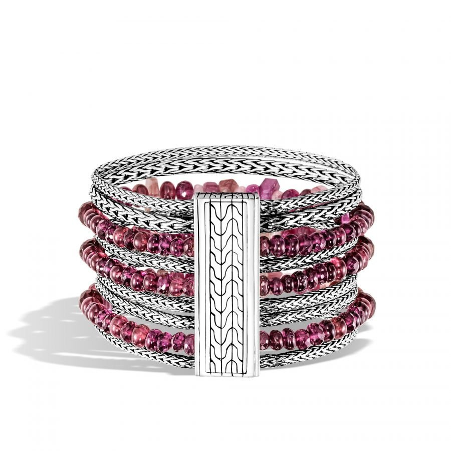 Classic Chain 37MM Multi Row Bracelet in Silver with Pink Tourmaline 2