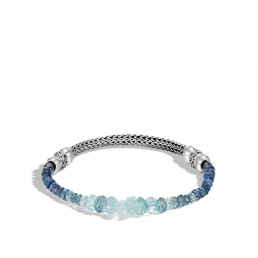 Classic Chain 5MM Bracelet in Silver with Aquamarine 2