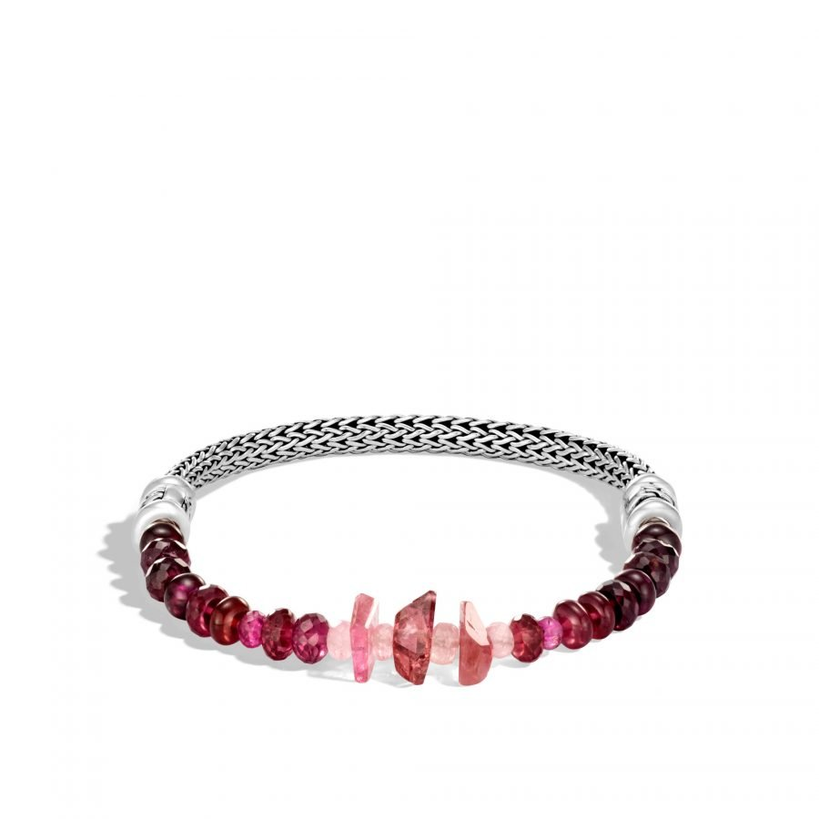 Classic Chain 5MM Bracelet in Silver with Pink Tourmaline 2