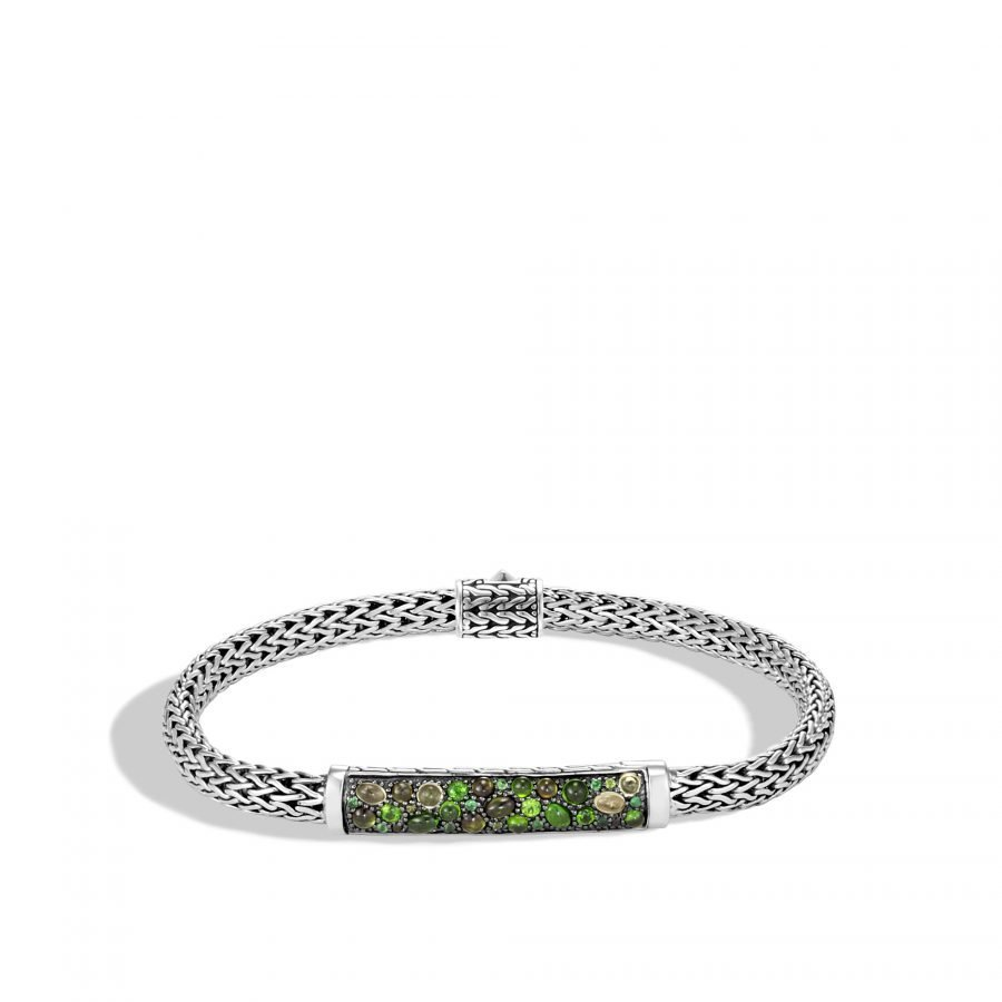 Classic Chain 5MM Station Bracelet in Silver with Green Tourmaline 2