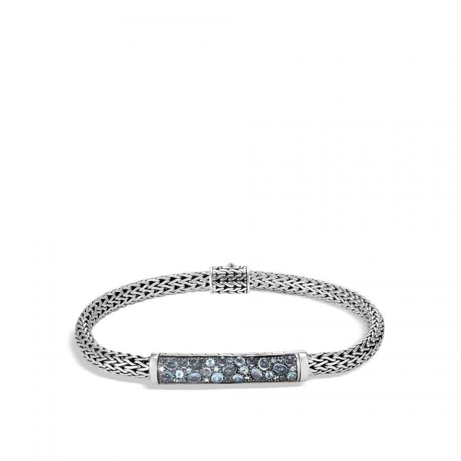 Classic Chain 5MM Station Bracelet in Silver with London Blue Topaz 2