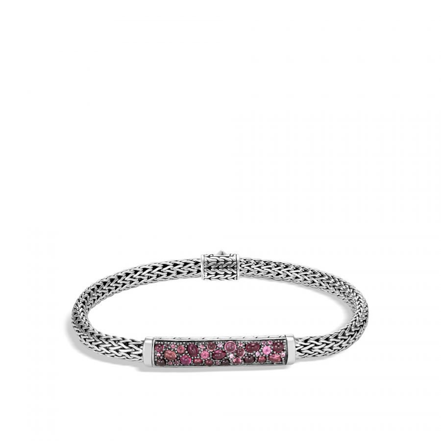 Classic Chain 5MM Station Bracelet in Silver with Pink Tourmaline 2