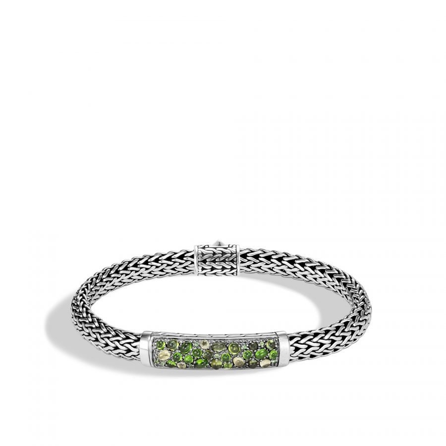 Classic Chain 6.5MM Station Bracelet in Silver with Green Tourmaline 2
