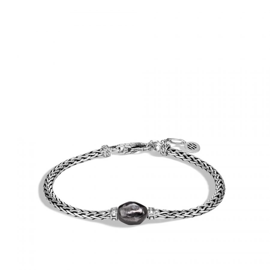 Classic Chain Bracelet in Silver with Hypersthene and White Diamond - Large 2