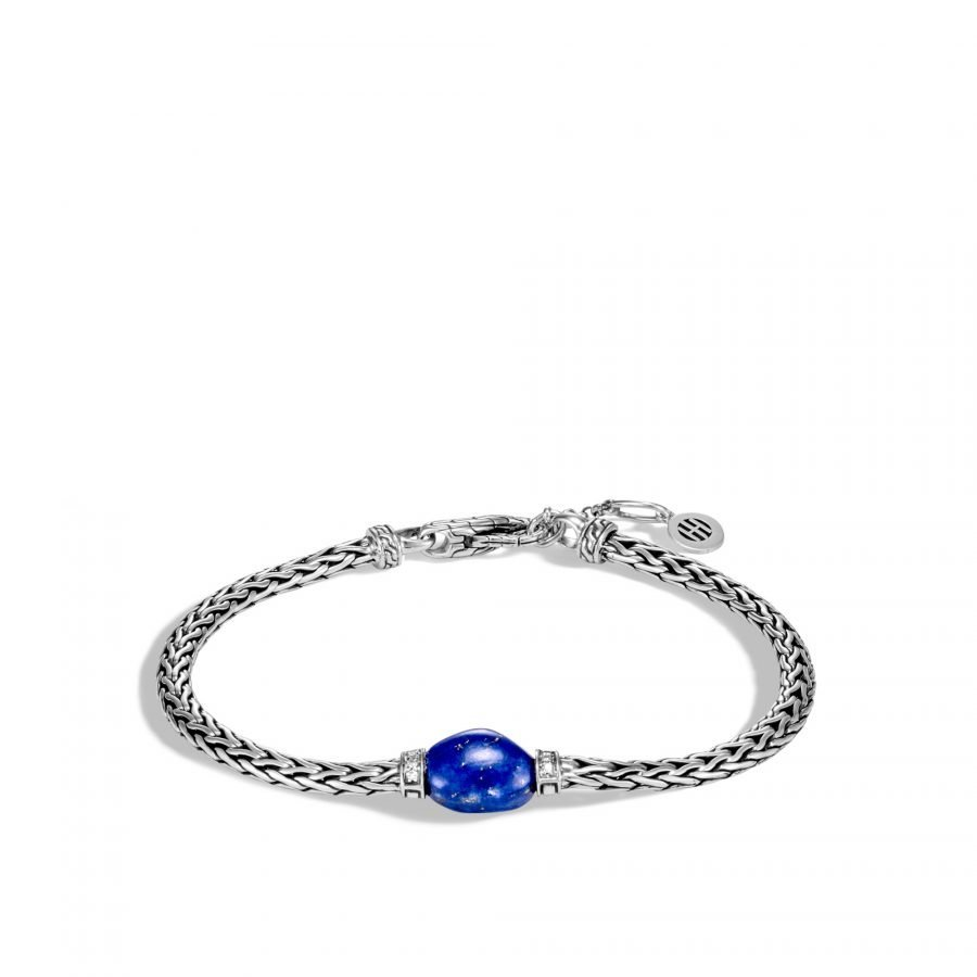 Classic Chain Bracelet in Silver with Lapis Lazuli and White Diamond - Small To Medium 2