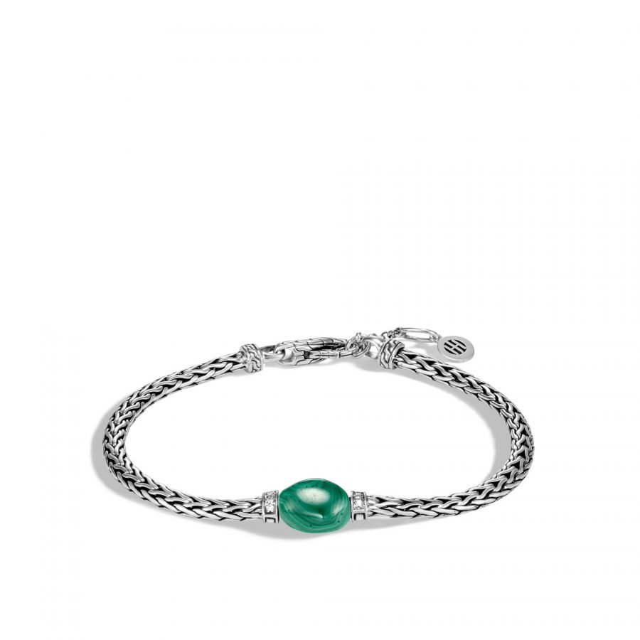 Classic Chain Bracelet in Silver with Malachite and White Diamond - Small to Medium 2
