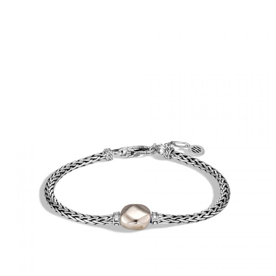 Classic Chain Bracelet in Silver with Pyrite and White Diamond - Small To Medium 2