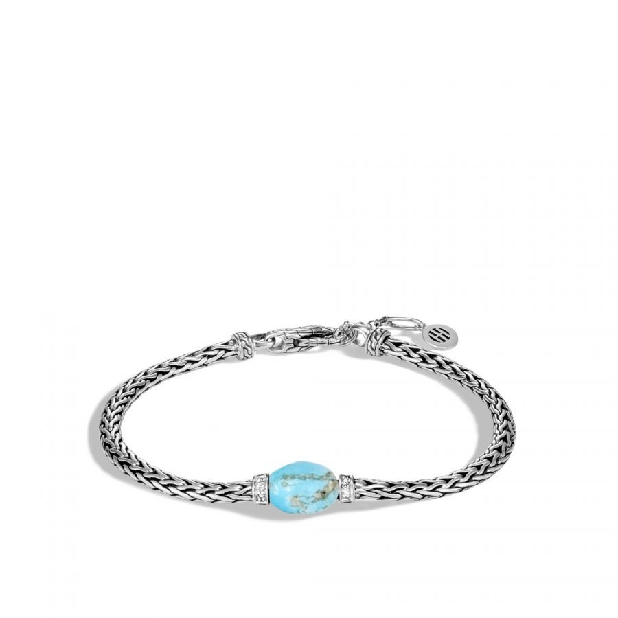 Classic Chain Bracelet in Silver with Turquoise and White Diamond - Medium To Large 2