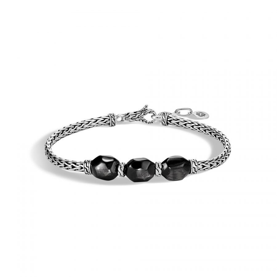 Classic Chain Station Bracelet in Silver with Hypersthene 2