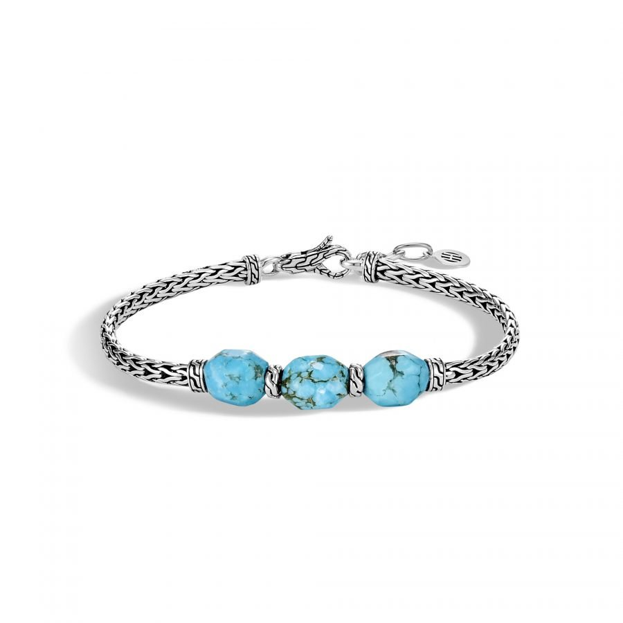Classic Chain Station Bracelet in Silver with Turquoise 2