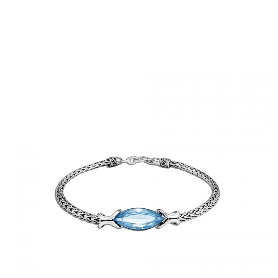 Asli Classic Chain Link Station Bracelet in Silver with London Blue Topaz 2