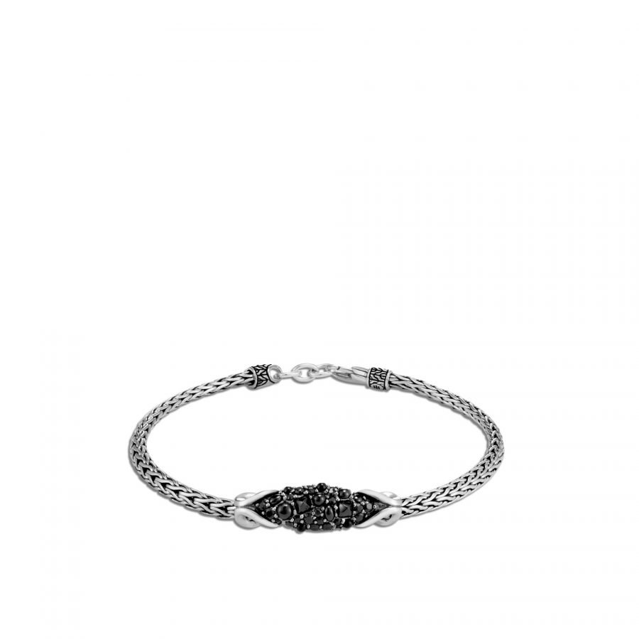 Asli Classic Chain Link Station Bracelet in Silver, With Black Spinel 2