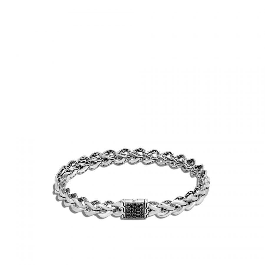 Asli Classic Chain Link 7MM Bracelet, Silver with Treated Black Sapphire - Medium 2