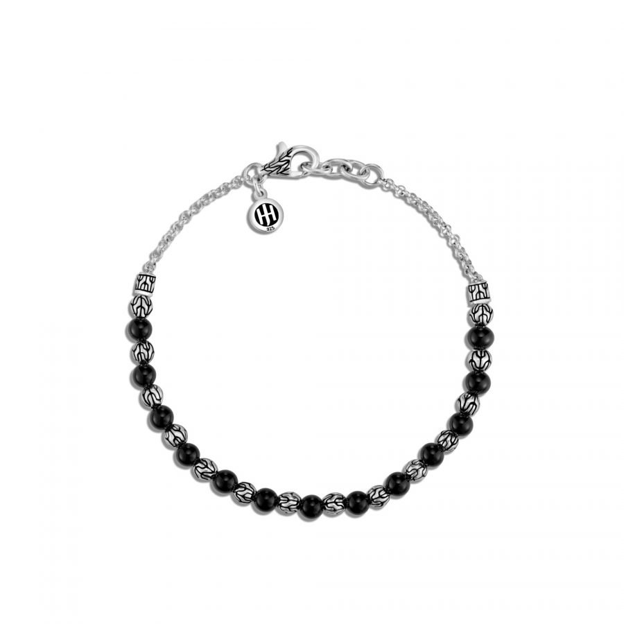 Classic Chain 4MM Bead Bracelet in Silver with Black Onyx 2