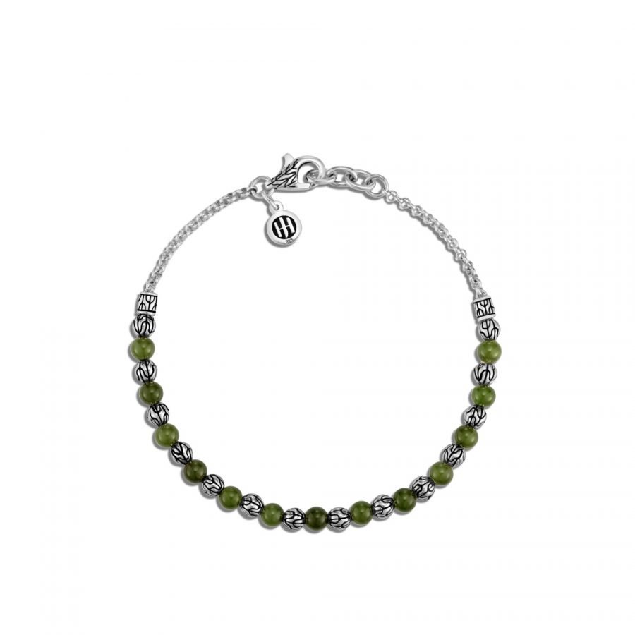Classic Chain 4MM Bead Bracelet in Silver with Nephrite Green Jade 2
