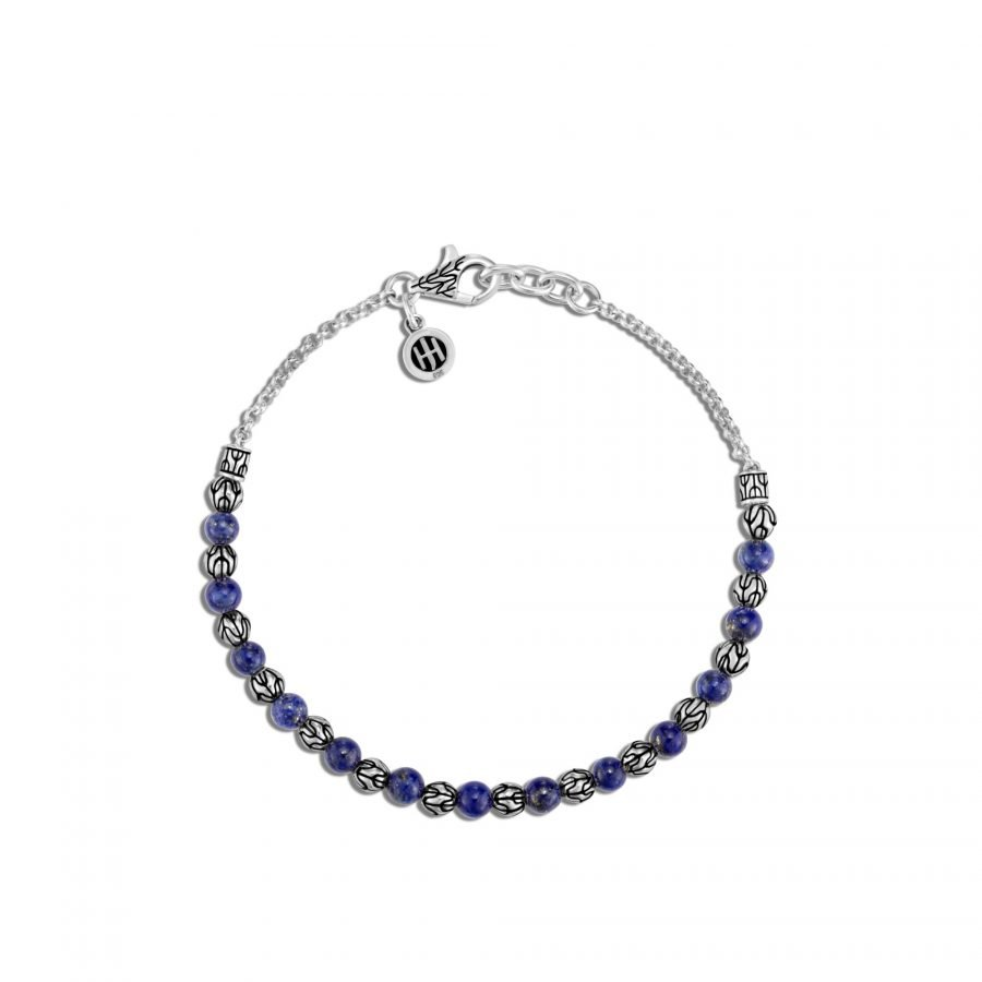 Classic Chain 4MM Bead Bracelet in Silver with Lapis Lazuli 2
